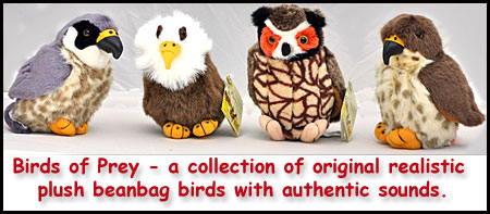 Birds of Prey - a collection of original realistic plush beanbag birds with authentic sounds