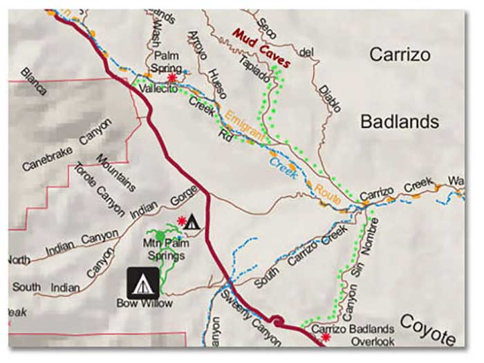Anza borrego slot canyon map