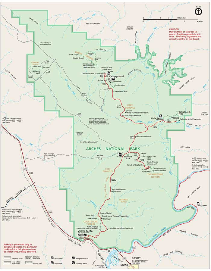 Arches National Park Climate Geography Map Desertusa