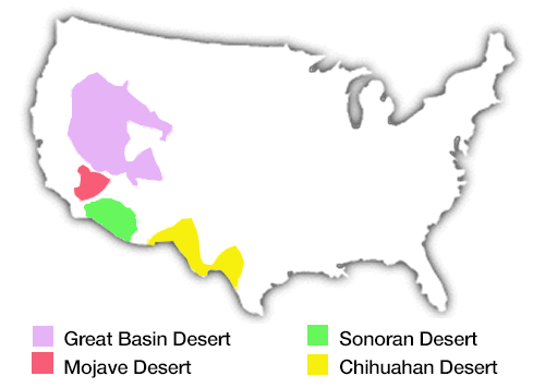 Us Desert Map The North American Deserts   DesertUSA
