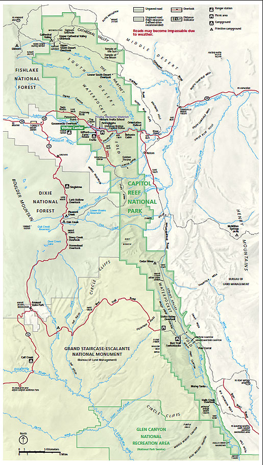 Capitol Reef National Park Climate Geography Map DesertUSA