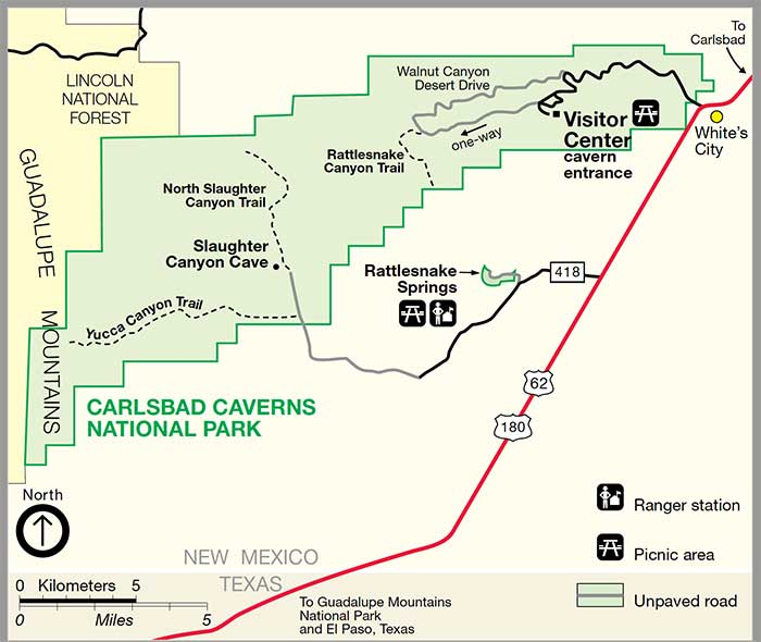 Carlsbad Caverns National Park Climate Geography Map DesertUSA