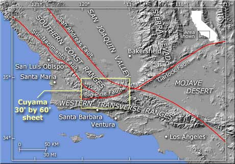 Palmdale California DesertUSA - San andreas fault map with cities