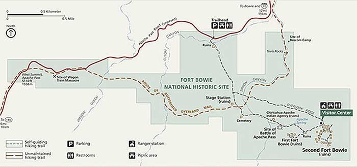 Map Of Arizona Historical Sites.Hike To Fort Bowie Apache Pass Desertusa