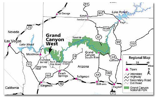 Map Of Arizona And Grand Canyon.Skywalk At The Grand Canyon Desertusa