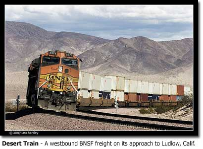 I 40 Closed Ludlow ... Train - A westbound BNSF freight on its approach to Ludlow, Calif