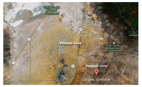 map of area where pendejo cave is located
