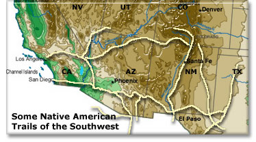 Native Americans Trails DesertUSA - Archaeological sites in the southwest us map