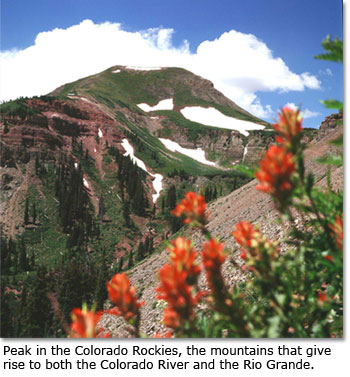 Peak in the Colorado Rockies, the mountains that give rise to both the Colorado River and the Rio Grande.