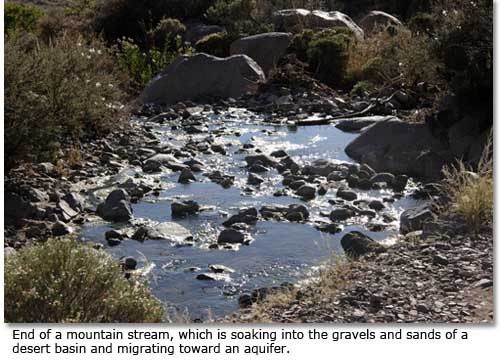 End of a mountain stream, which is soaking into the gravels and sands of a desert basin and migrating toward an aquifer.