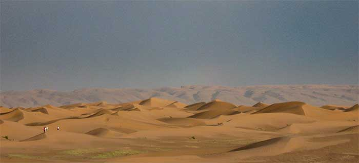 Saharan dunes as seen from the eastern edge of Morocco.
