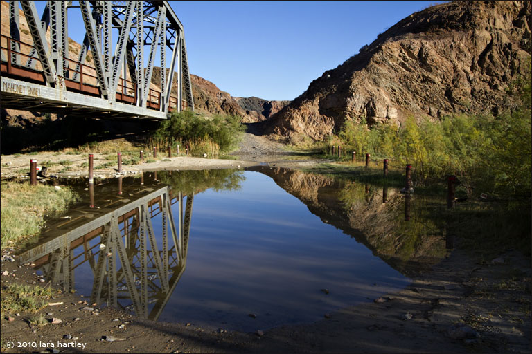 The second/middle railroad trestle crosses the Mojave River. A short walk to the south of this location are caves where historic travelers coud find shelter along the Mojave Road.