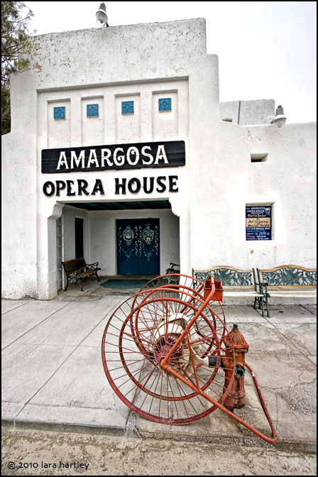 An antique fire hose sits outside of the Amargosa Opera House.