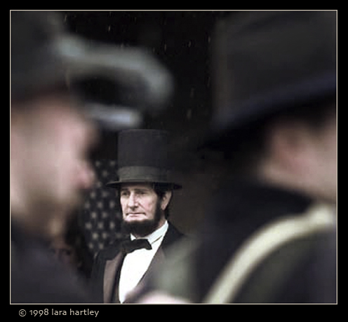Review in the rain  Abe Lincoln reviews Union troops before an afternoon battle.