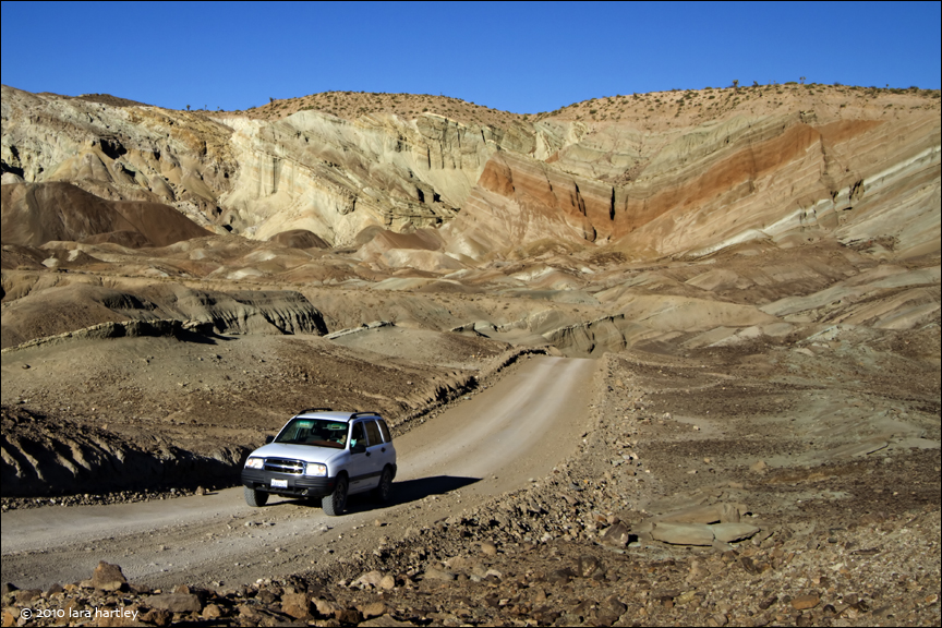 The Fossil Canyon Loop Road winds its way through Rainbow Basin and past the Barstow Syncline.