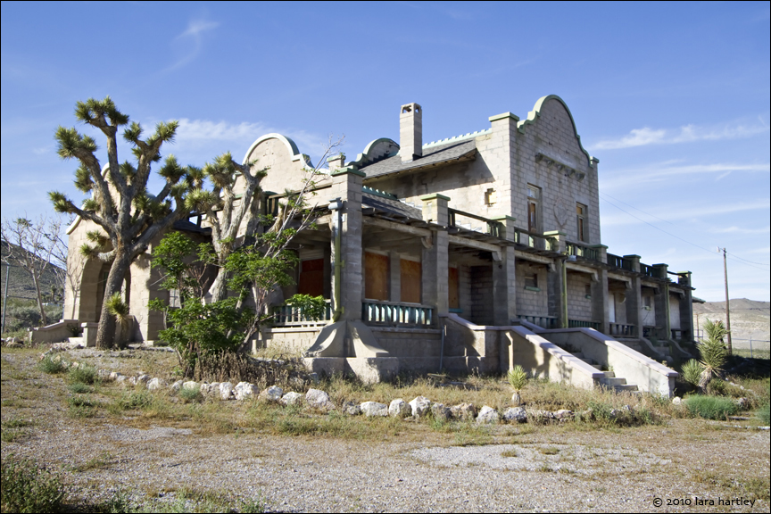 Plans to restore the Las Vegas and Tonapah Rhyolite Depot have been derailed by a lack of funding so it sits in faded glory. Hopefully the building can be rescued before it is too late.