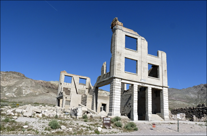 One of the more picturesque Rhyolite buildings, the Cook Bank, is slowly crumbling into dust and memories.