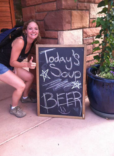 My friend Abbie is ready for some soup after a long day of hiking.