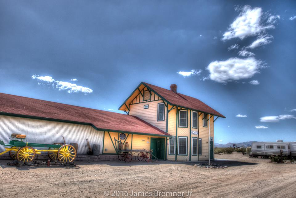 A replica of the old Goffs Depot that houses the Mojave Desert Archives in Goffs, CA
