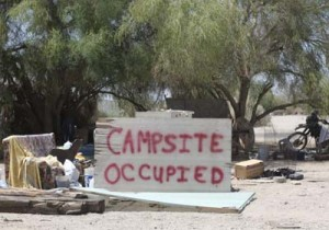 A campsite that someone is reserving for themselves.