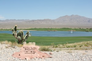 A view from the clubhouse down towards the 18th hole on the Paiute Golf Course.