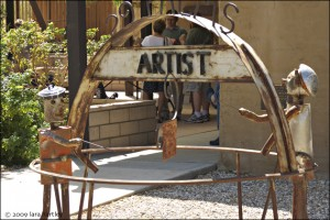 This folk art piece, by an unknown artist displayed on the gallery grounds, was donated to the Artists Guild by Karen Skib from her Wonder Valley property.