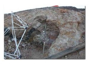 An area at the mine where some veins were found and worked.