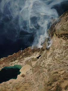 NASA satellite photo (provided by NSPO, Taiwan National Space Organization) from October 23, 2007, showing the active fire zones and smoke plumes.