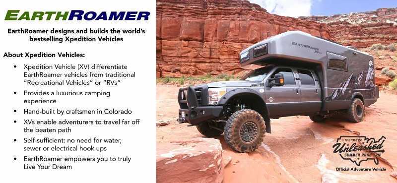 EarthRoamer Xpedition Vehicle is the official vehicle of the LifeProof Unleashed Summer Road Trip. (PRNewsFoto/LifeProof)
