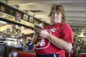 Dianne DuVall, a waitress at the Summit Inn asks, 'What can I get you hon?' as she seats customers.