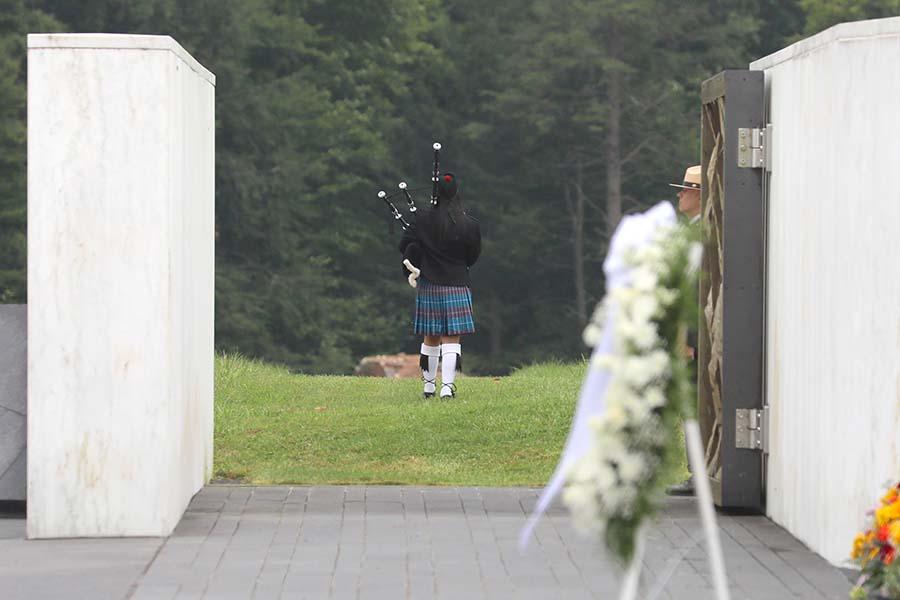 Bagpiper honors the 40 passengers and crew members of Flight 93. Photo courtesy of Brenda Torrey