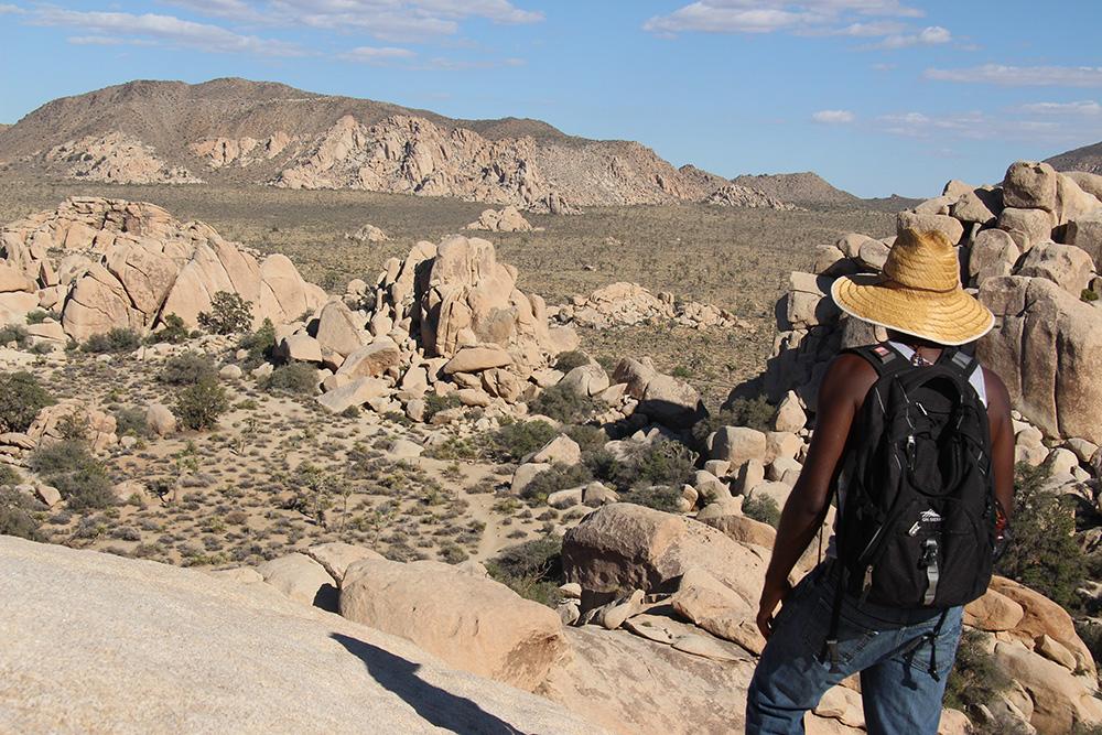 Hiker looks over Hidden Valley
