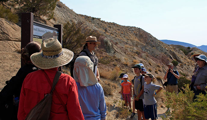 Park Ranger Ceila Dubin greets visitors for the Fossil Discovery Trail Hike
