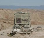 Calcite Mine marker at the trailhead of Palm Wash.