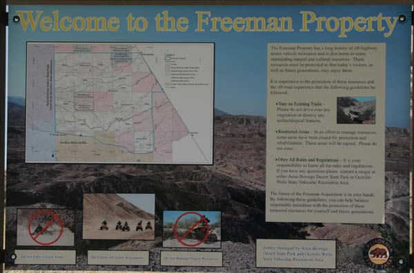 Freeman Project sign along Palm Wash.
