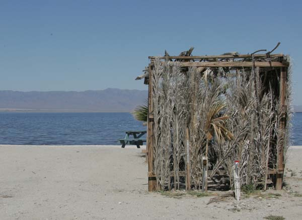 The beach shack that covered a picnic table at a campsite on Salton Sea Beach.