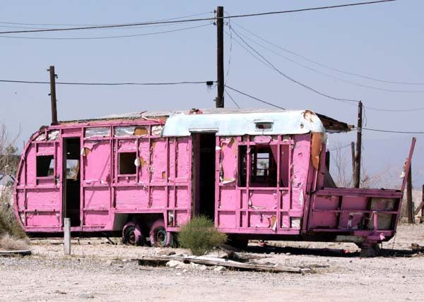 The pink trailer we encountered in Desert Shores.