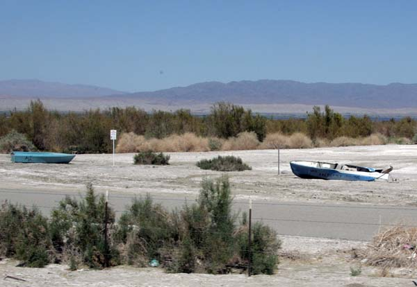 Abandoned boats along Hwy 86.