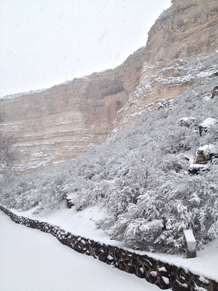 Snow at Montezuma's Castle 12/31/14. NPS/Jessica Deboer.