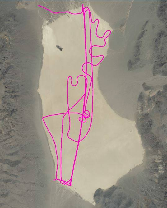 The pink line is a GPS record of the vehicle tracks done recently on the Racetrack. The vehicle drove up and back several times. If you've been out there, you know most of the moving rocks are in the southeast part of the playa. Fortunately, this vehicle didn't drive there. NPS Photo