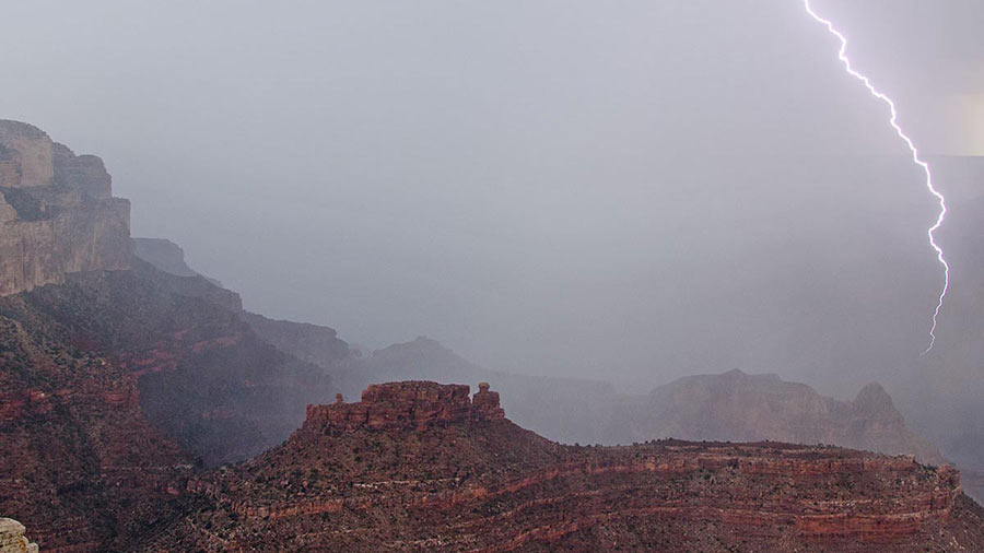 Lightning strikes the cliffs and buttes of Grand Canyon Lightning strikes the cliffs and buttes of Grand Canyon NPS Photo