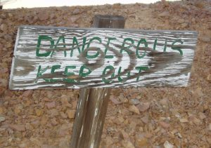 Keep Out sign near abandoned mine
