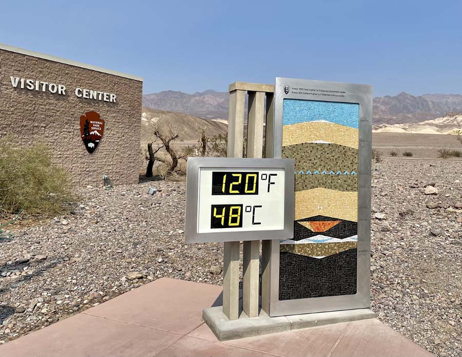Newly improved thermometer at Furnace Creek Visitor Center. NPS