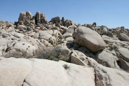 Rock piles around Squaw Tank.