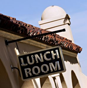 A lunch sign shows where the old beanery was in the newly restored and reopened Kelso Depot, in Kelso, Calif. Nov. 3, 2005. The depot now functions as the visitor center for the National Park Service in the Mojave Desert National Preserve. (AP Photo/Daily Press/Lara Hartley