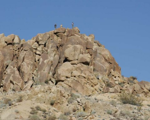 Hikers above us on Mastodon Peak.