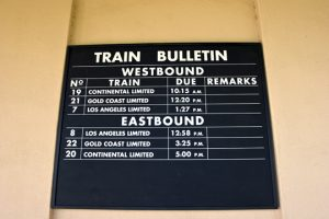 Train names on a bulletin from a by-gone era are another element that adds a sense of reality to the station.
