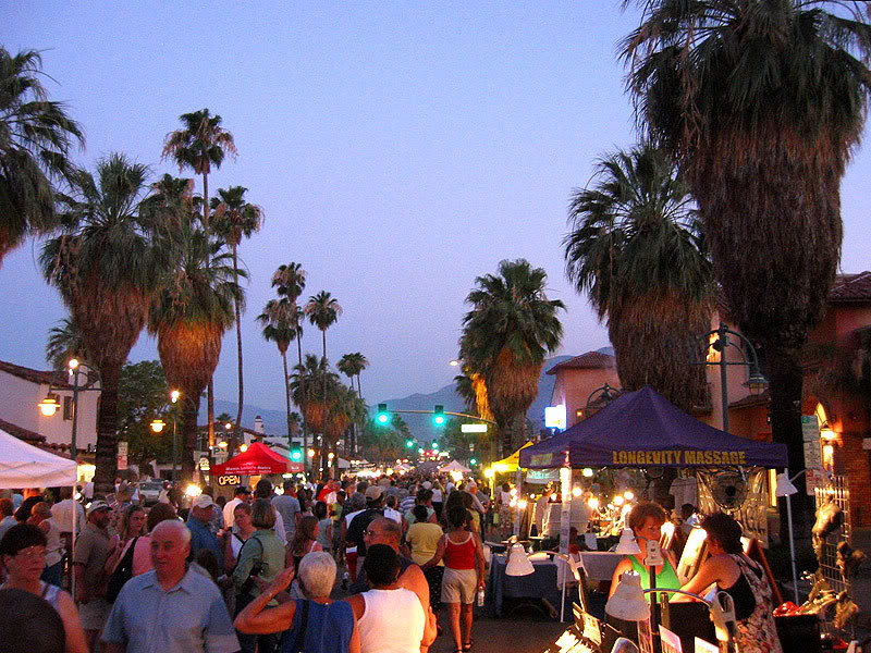 Palm springs villagefest arts crafts dining and for Shopping in palm springs ca