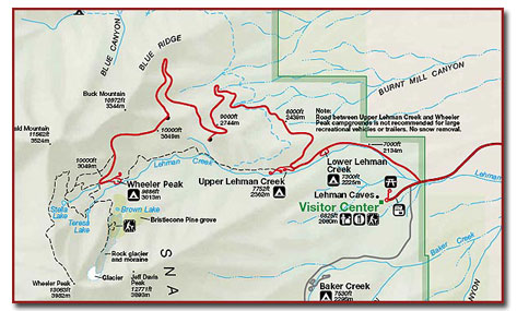 Great Basin National Park Map Great Basin National Park: Climate, Geography, Maps   DesertUSA