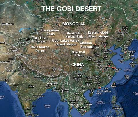 The gobi desert location landscape desertusa map of the gobi desert gumiabroncs Choice Image